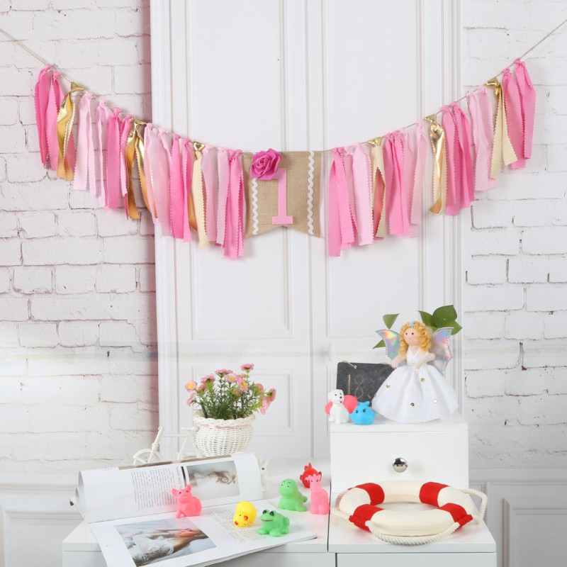 New Wild One Highchair Birthday Banner 1st Party Yellow Pink Garland Crown Bunting Baby shower Decorations Wild Things Hanging