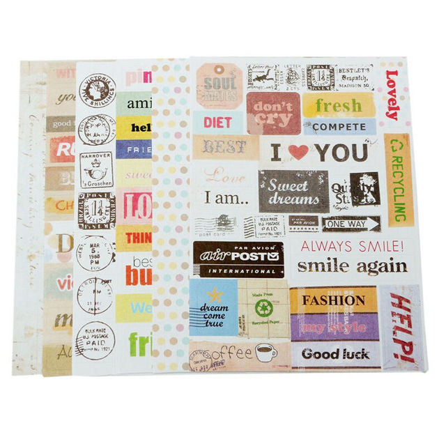 Jetting wholesale pc mobile phone stickers decor laptop skin 6 sheets pack cartoon letter print