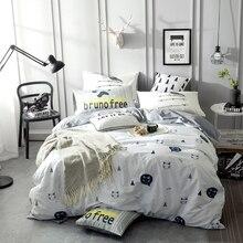 2018 Cute Cat Head Bedding Set 3/4Pcs Twin Full Queen Size Cotton Bedlinens Duvet Cover Set Flat Sheet Pillow Cases