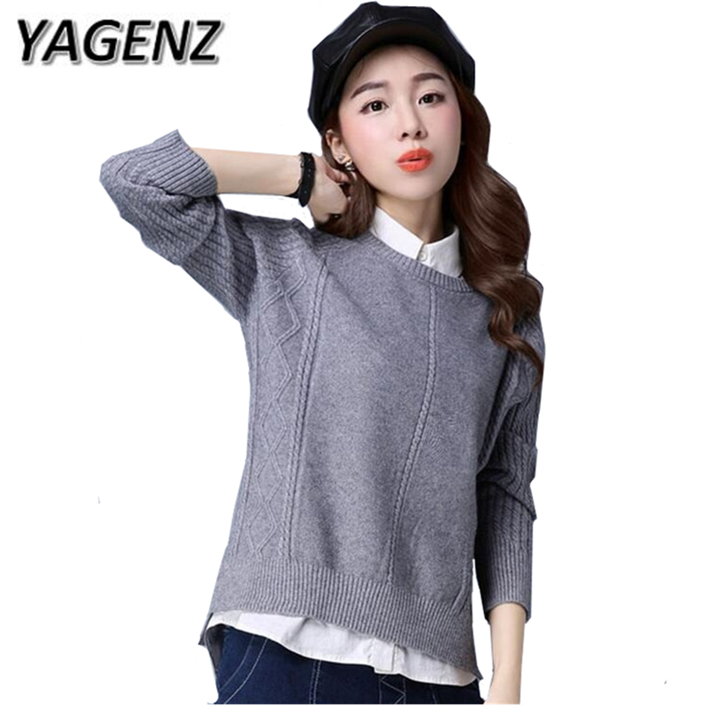 Autumn/Winter Knit Women Sweater Loose Long Sleeves Pullover Casual Tops Plue Size Solid O Neck Lady Korean Short Sweater 3XL