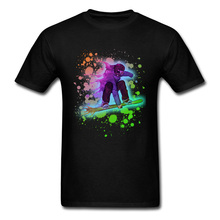 2018 Popular T Shirt Men O Neck T-shirt Neon Rainbow Paint Splatter Snowboarder Tshirts NEW YEAR DAY O Neck 100% Cotton Clothes