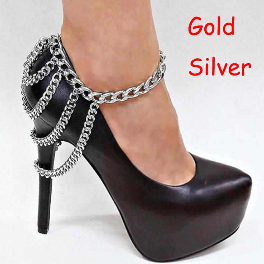 1Piece Punk Shoes Chain Anklets Boots Heel Ankle Bracelet Metal Multilayer Tassels Foot Jewelry women Summer Bracelets