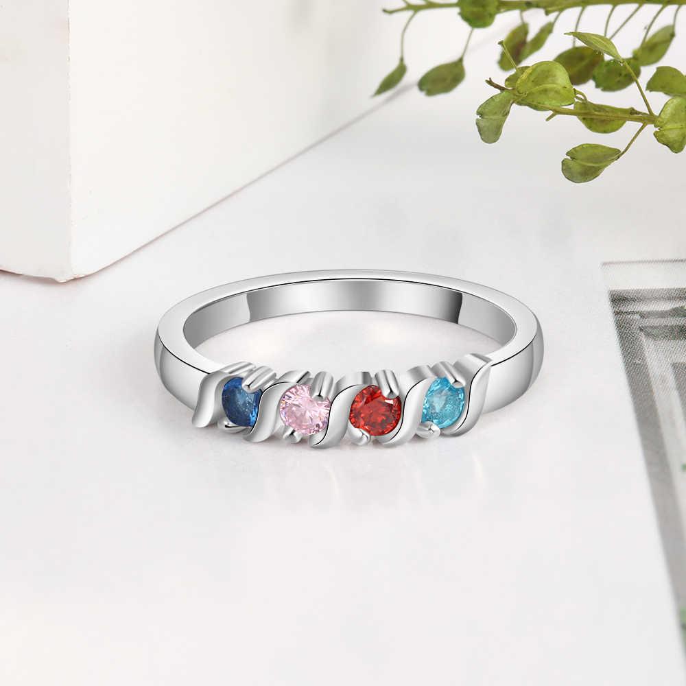 Персонализированные кольца для женщин на заказ 4 кольцо с камнем рождения модные ювелирные изделия юбилей подарок для семейной матери (Lam Hub Fong)