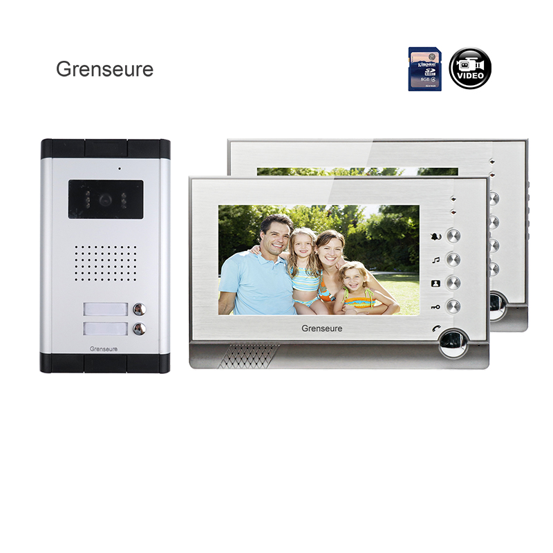 FREE SHIPPING New 7 LCD Color Recorder Video Door Phone Intercom + 2 Monitor + 700TVL HD Outdoor Camera for 2 Family Apartment