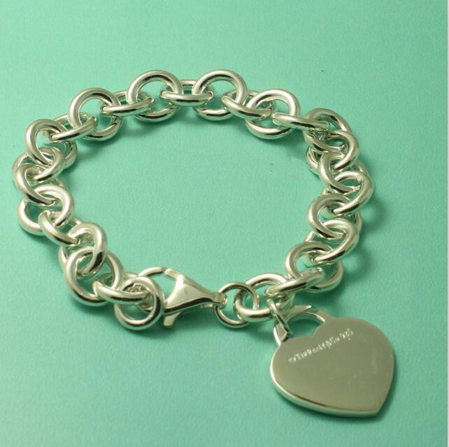 Pure Sterling Silver 925 Heart Tag Thick Chain Bracelet Women Original Brand Design Real Silver 925 Bijoux Top Quality Gift