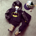 new 2015 autumn winter Monster pattern boys clothing set hooded+pants 2pcs kids boys clothes outfits suit 2~7age infants pajamas