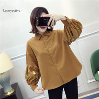 2018 New Spring Summer Women Floral Shirt Corduroy Shirt Blouses Girl Clothing Full Sleeve Ladies Shirts