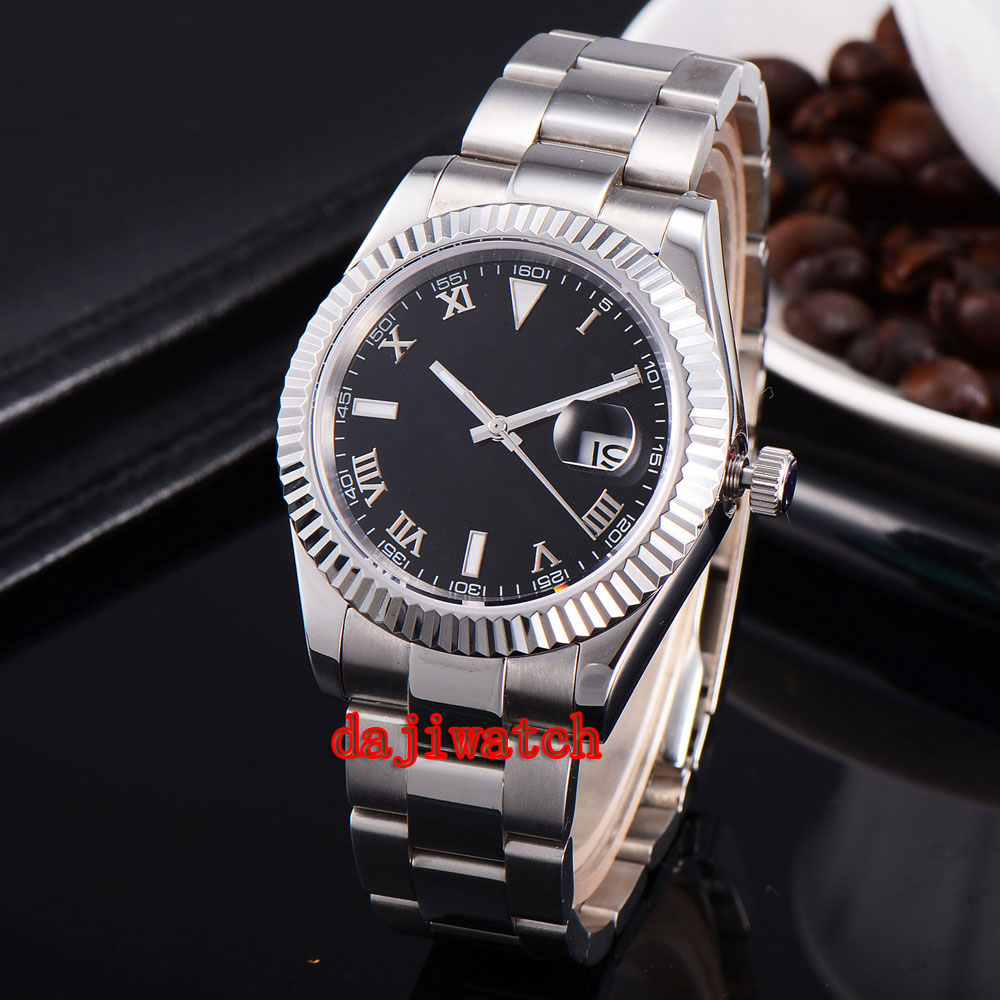 parnis 40mm black dial stainless steel case Sapphire glass calendar mechanical automatic watch men цена 2017