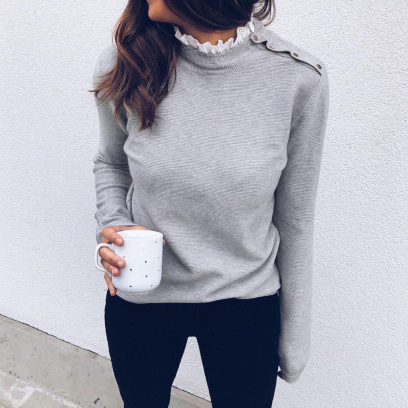 Women Gray And White Lace O Neck Long Sleeve Normal Shoulder Button Solid Autumn Winter Hoodies