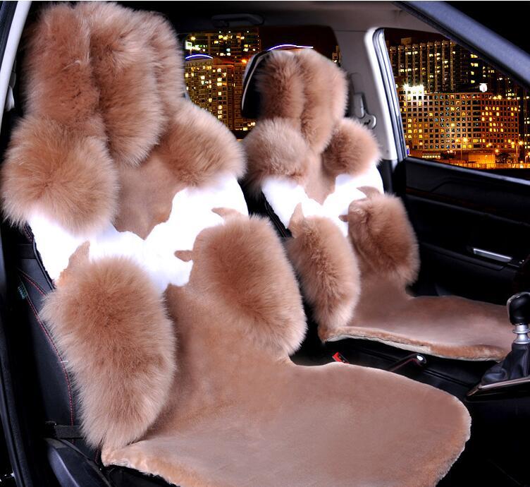 1pcs Front Australia Wool Car Seat Cushions Flower Genuine Sheepskin Fur Vehicle Winter Universal 1 Piece Front Seat Covers Mats 2016 australia genuine sheepskin leather