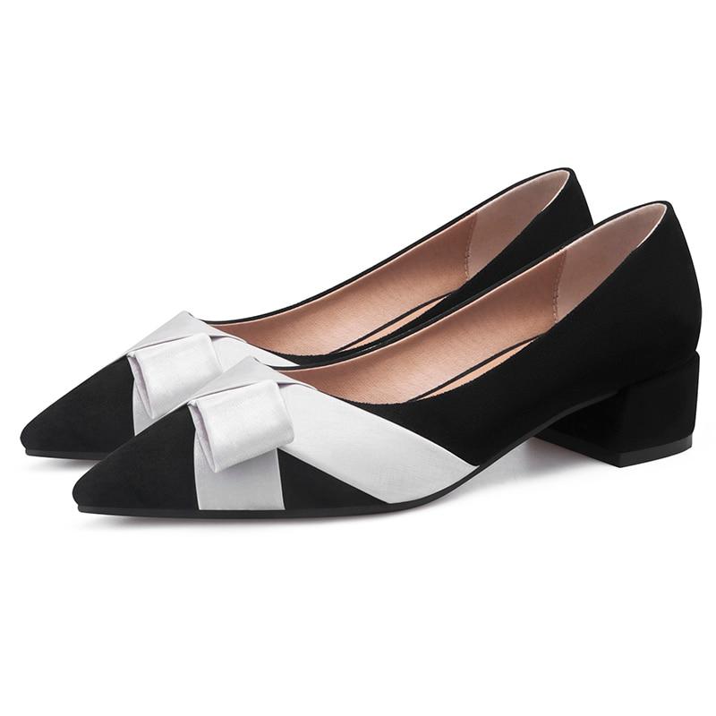 2019 Voorjaar Wees Toebowknot Zwarte Vrouwen Flats Loafers Vrouw Casual Schoenen 11811AJS2158-in Platte damesschoenen van Schoenen op  Groep 1
