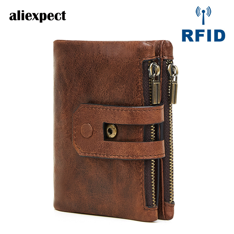 Sale Solid Genuine Leather Men New Mens Leather Wallet Short Retro Double Zipper Cloth Antimagnetic Large Capacity Bag