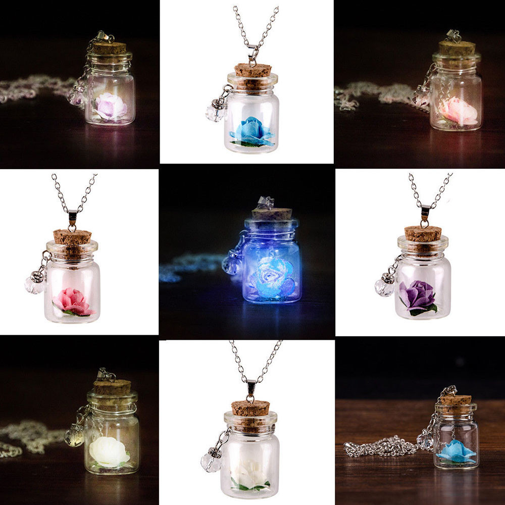 Luminous Flower Necklace Glow in the Dark Glass Tiny Wishing Bottle Vial Necklace Pendant Chain Gift for female women #15