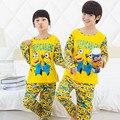 Primavera & Outono Pijamas Pijamas Meninos Meninas Roupas Set Crianças Roupas Conjuntos de Roupa Interior Dos Desenhos Animados Crianças Pajama Sets para 3-13yrs
