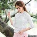 Plus Size White Shirt Long Sleeve Cross Design Stand Collar Cotton Linen Straight Linen Blouses Women Casual Autumn New
