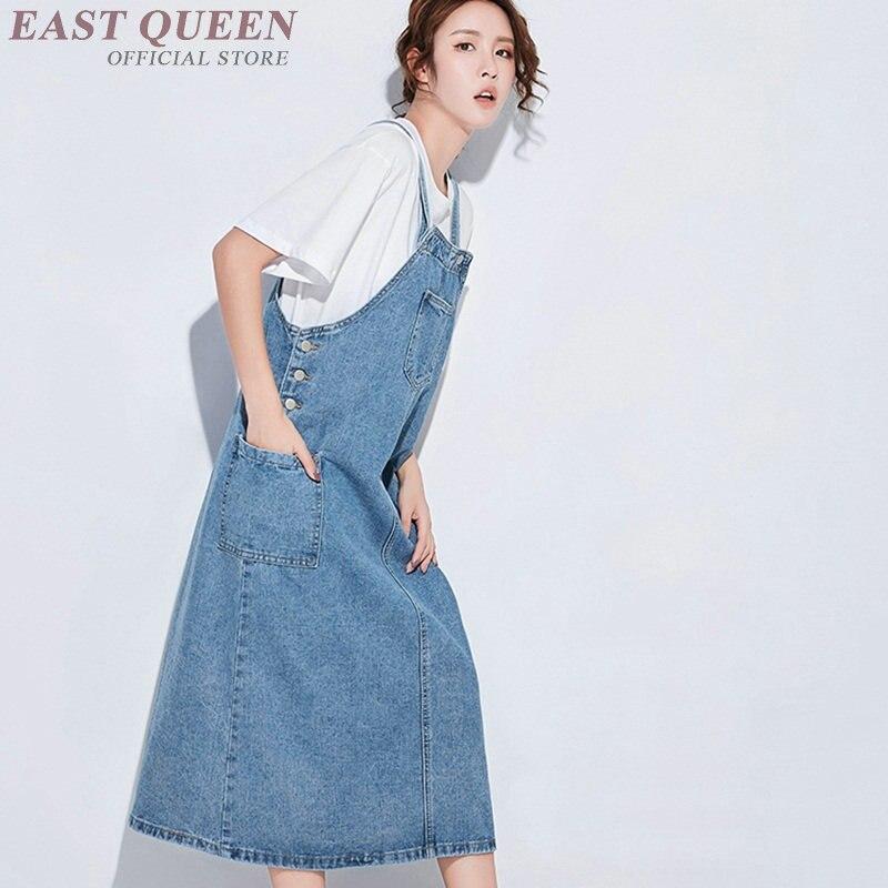 Nouveautés D 2018 Femmes Manches Jean Chasuble Denim Robe Robes FPWw7Oq
