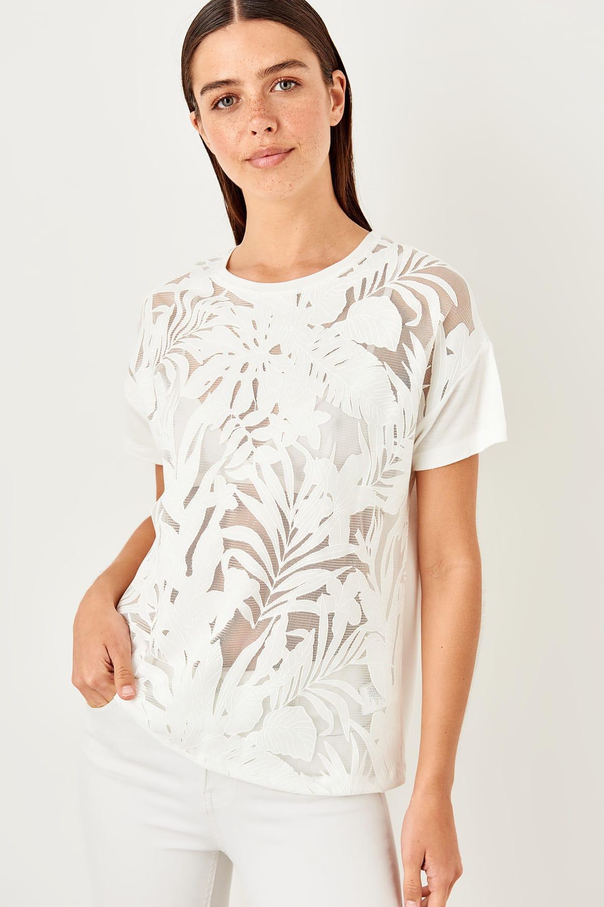 Trendyol White See-Through Detaylı Knitted Blouse TWOSS19FV0129