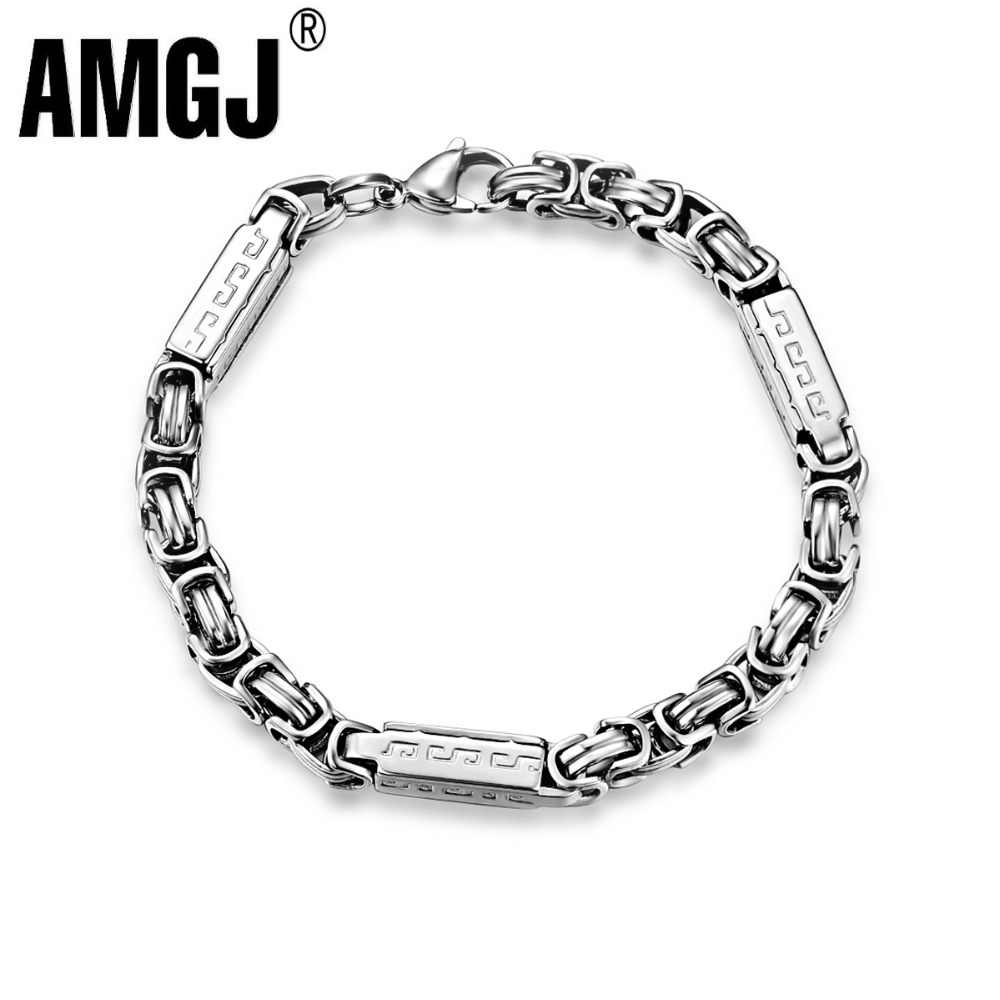 Amgj Stainless Steel Byzantine Bracelets for Men's Steel Punk Hip Hop Stamped Great Wall Box Chain Bracelet Titanium Jewelry