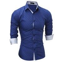 New Autumn Fashion Brand Men Clothes Slim Fit Men Long Sleeve Shirt Men Plaid Cotton Casual