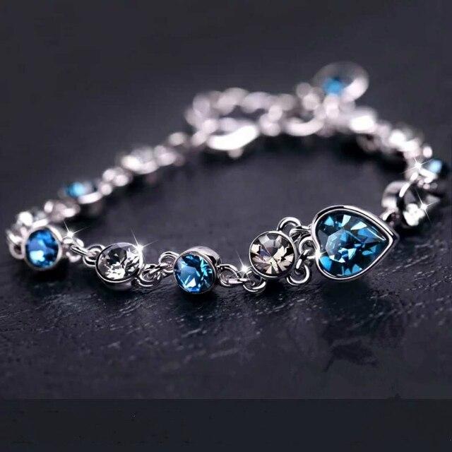925 Sterling Argento di Colore Zaffiro Braccialetto Per Le Donne Romantico Blu dei monili pulseira feminina kehribar bizuteria Braccialetto 3