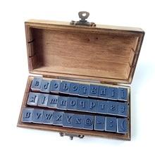 30 Pcs/set Vintage DIY Multi Purpose Regular Script Number Lowercase Alphabet Letter Decoration Wood Rubber Stamp Set Wooden Box