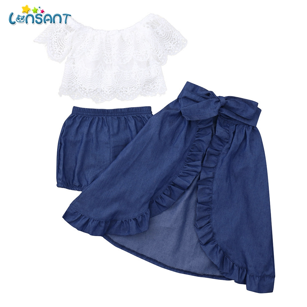 LONSANT 2018 New Summer Hot Fashion Toddler Baby Girls Solid Ruffles Lace Tops Skirts Sleeveless Shorts Set Clothing Outfits summer baby kids girl floral print outfits lace up ruffles tops big bowknot shorts bottoms clothes 2pcs girls clothing set