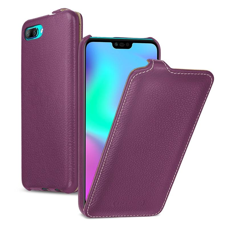 Luxury Business Flip Case for Huawei Honor 10 Handmade Custom Genuine Leather Phone Cover Honor10 Fundas