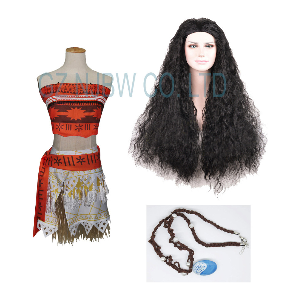 Girls Women Animie Movie Polynesia princess Moana Cosplay Costume Dress Cosplay Costumes Halloween Party Dress+wig+necklace