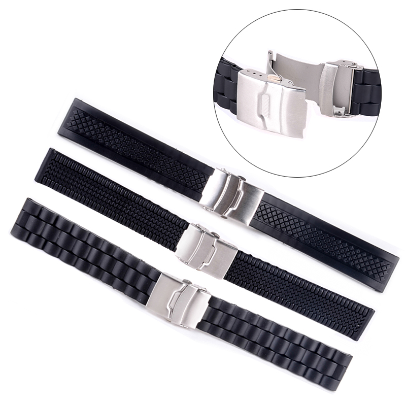 3Styles Sports Watch Band 20mm 22mm 24mm Soft Silicone Rubber Strap Steel Buckle ձեռնաշղթա