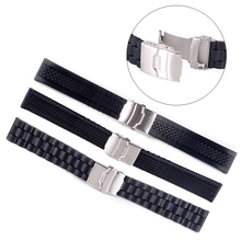 3Styles Sports Watch Band 20mm 22mm 24mm Soft Silicone Rubber Strap Steel Buckle Bracelet Wrist WatchBand watch accessories(China)