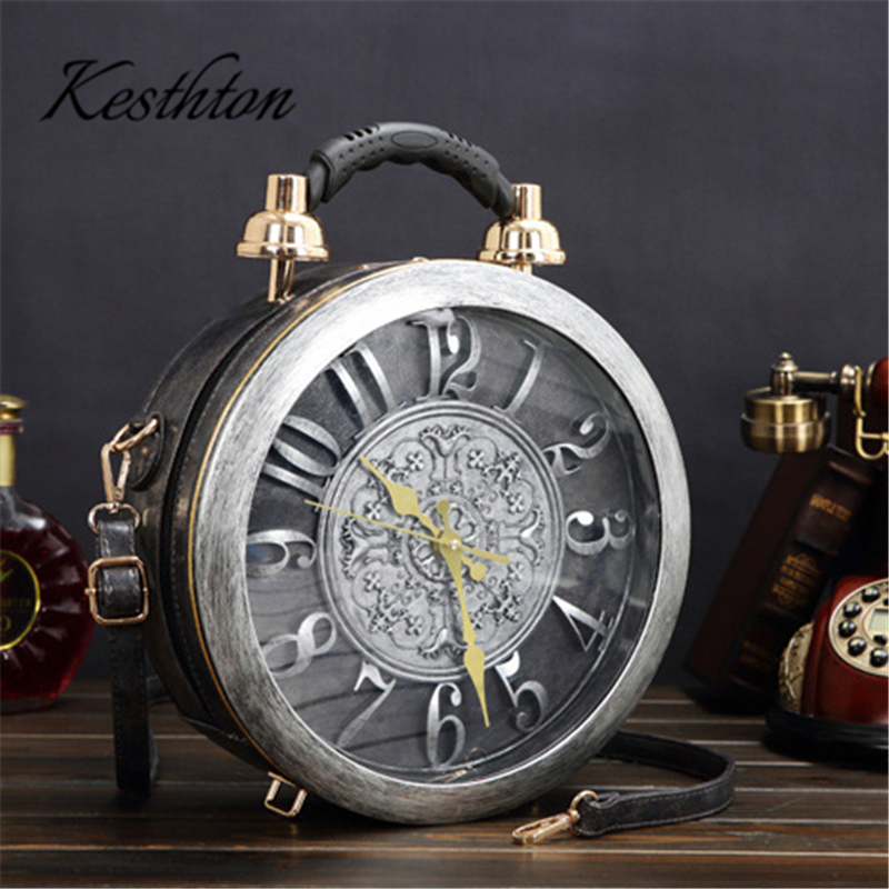 Clocks and watches women handbags creative fashion zipper circular female crossbody bags high quality clutch bagsClocks and watches women handbags creative fashion zipper circular female crossbody bags high quality clutch bags