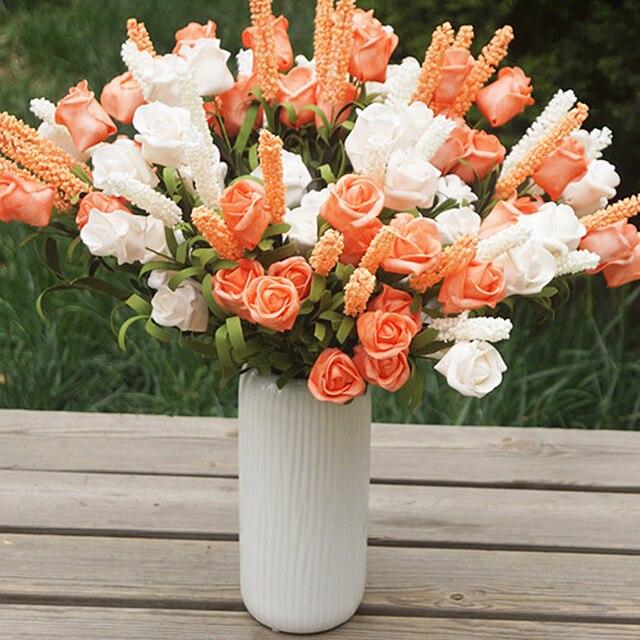 6 Tetes Bouquet Roses 6 Couleurs Lavande Rose Mixte Fleurs