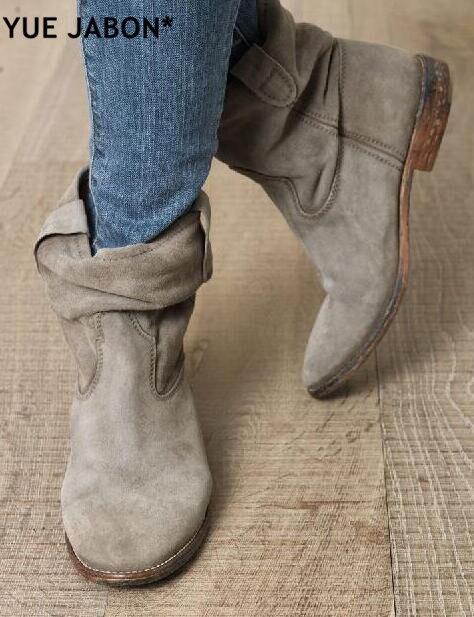 Alta qualidade toe redondo cunhas aumento do calcanhar das senhoras botas de rua estilo feminino tornozelo botas primavera outono cowboy ankle boots mujer
