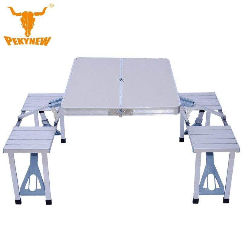 Épais pièce tables pliantes en aluminium et chaises Portable Table Pliante Bureau Meubles En Plein Air 4-personne table et chaise