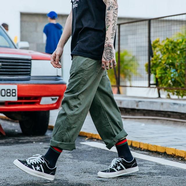 e9c4ec662 Japanese shopkeeper overalls men's wind wide leg pants loose tide straight  leg pants trousers