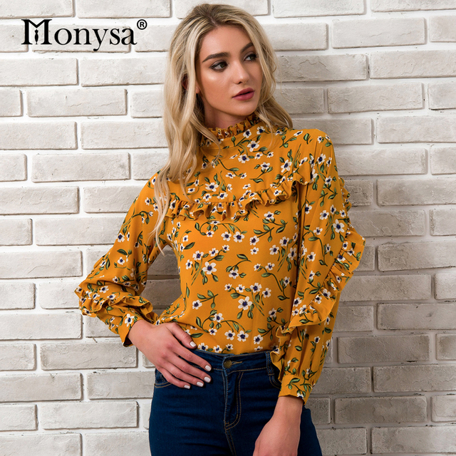 48bfd5d3727426 Floral Print Tops For Women 2018 Spring Summer New Fashion Stand Collar  Long Sleeve Blouses Ladies