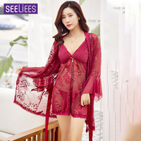 Sexy Lingerie Women Strap Nightgown Lace Nightwear Transparent robe night set sexy lingerie hot XSY16