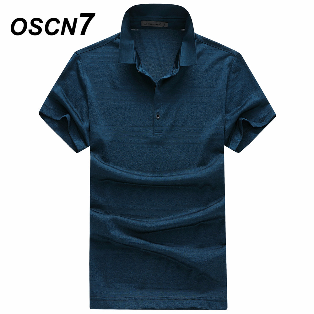 OSCN7 Mulberry Silk Polo Shirt Men Short Sleeve Summer Striped Comfortable Mens Polo Homme Plus Size Leisure Polo Shirts men varsity striped polo shirt