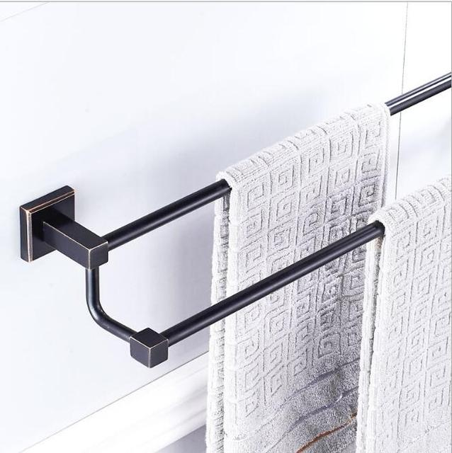 hoge kwaliteit zwarte olie nikkel handdoek hanger wandmontage 24 inch dubbele handdoek barhanddoekhouder badkamer