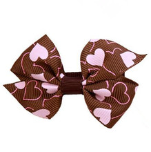 200pcs lot Valentine Lovely Pink Hairbows On Clips
