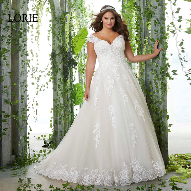 LORIE Plus Size Wedding Dress Lace Appliqued with Tulle Bridal Dress White ivory Backless Cap Sleeve