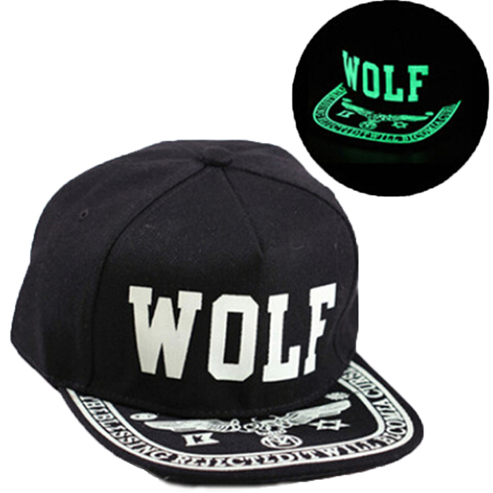 aeddcf893c772 Men Women New Glow In The Dark Hat Print WOLF Snapback Hats Adjustable Hip  Hop Fluorescent Baseball Cap