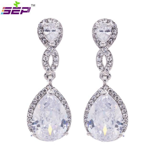 23f2d4660a82 Vintage Wedding Clear Rhinestone Crystal Zircon Cuelga Los Pendientes de  Gota Para La Novia 20621