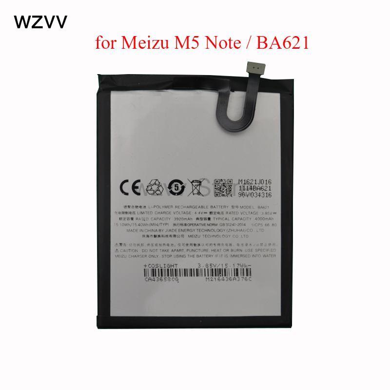 wzvv 100% Original 4000mAh BA621 For Meizu M5 Note Battery Compatible MeiBlue M5 Note Mobile Phone Batterie + Tracking Code