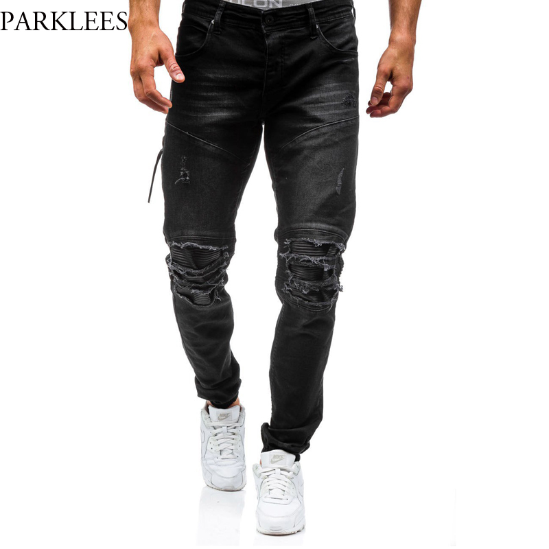 Ripped Jeans Men 2017 Brand New Hi Street Fashion Zipper Biker Jeans Homme Casual Wash Cotton Slim Fit Black Skinny Jeans Men 2016 new dsel brand men jeans men fashion skinny jeans men men straight fit leisure quality cotton biker jeans denim