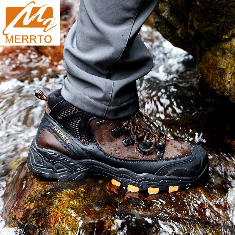 MERRTO Mens Waterproof Trekking Shoes Leather Hiking Shoes Mountain Boots Sports Sneakers Men Five Toes Walking Climbing Shoes merrto men waterproof hiking shoes outdoor sports shoes genuine leather sneakers breathable walking mountain trekking shoes men