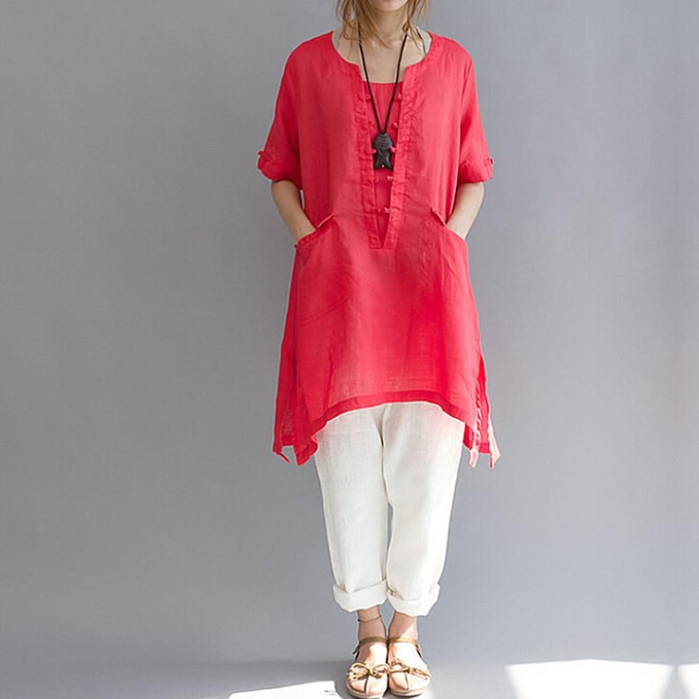 2018 Long Women Shirt Cotton Linen short sleeve Asymmetric Loose Oversized Women B Pockets Tunic Tops Plus Size White L-6XL