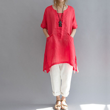 2018 Long Women Shirt Cotton Linen short sleeve Asymmetric Loose Oversized Women B Pockets Tunic Tops Plus Size White L-6XL plus size monochrome asymmetric tunic tee