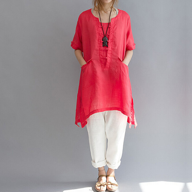 2018 Long Women Shirt Cotton Linen short sleeve Asymmetric Loose Oversized  Women B Pockets Tunic Tops Plus Size White L-6XL