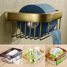 Multi colors Brass Wall Mount Bathroom Basket for Roll Paper Daily Necessities Toilet Paper Tissure Holder
